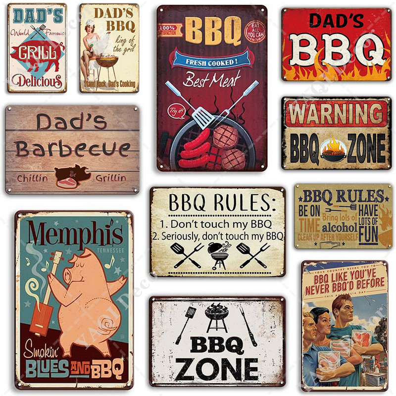 BBQ Signs Vintage Barbecue Metal Plaque Tin Sign Dad's BBQ Poster Decorative Metal Plates Room Wall Stickers Bar Pub Home Decor