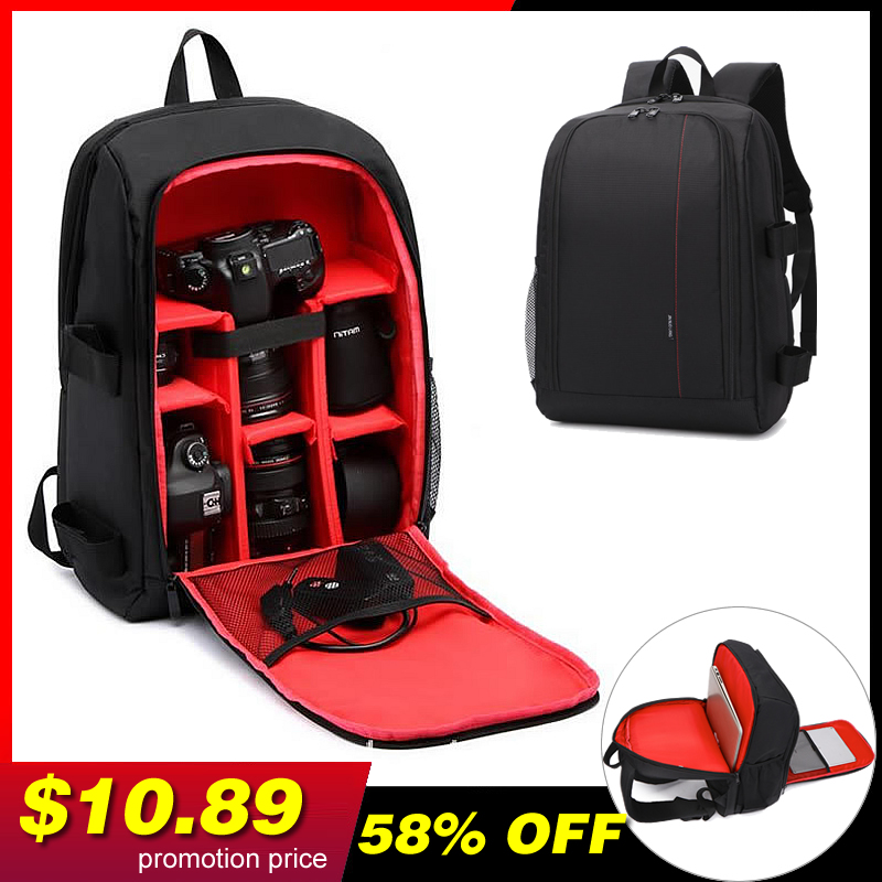 Camera Backpack Waterproof Nylon DSLR Camera Bag Video Bags with Rain Cover Tripod Cases PE Padded for Photographer Canon Nikon image