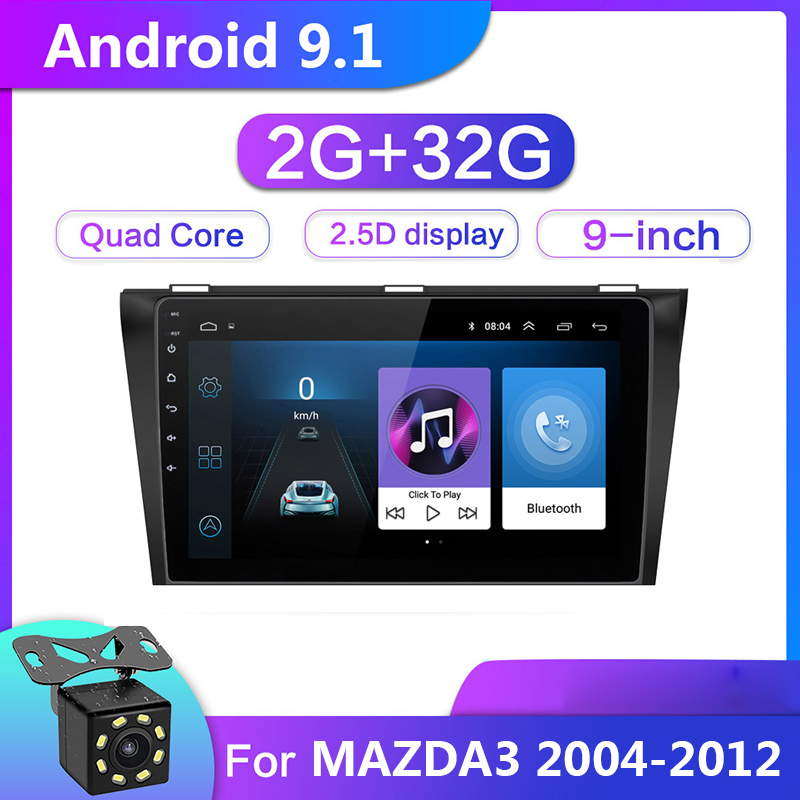 9 zoll <font><b>Android</b></font> 9.1 Auto Multimedia Video-Player 2G + 32G Für <font><b>Mazda</b></font> <font><b>3</b></font> Mazda3 2004-2012 2din GPS Navigation Radio Stereo WIFI Keine DVD image
