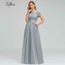 Elegant Grey Maix Dress Women A-Line O-Neck Short Sleeve Lace Formal Sexy Ladies Long Party Vestidos De Festa 2019