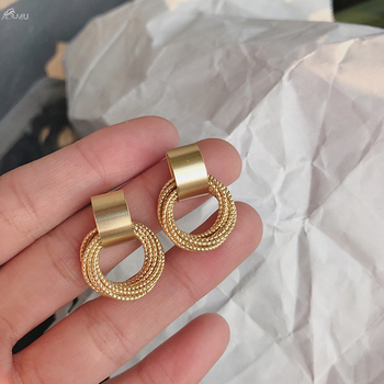 AOMU 2019 Simple New Gold Metal Multi-layer Circle Winding Geometric Round Small Stud Earrings for Women Girl Party Jewelry image