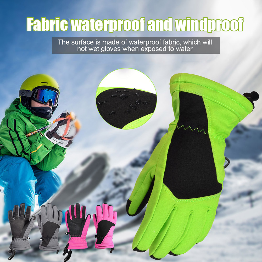 1 Pair Ski Gloves Winter Gloves Kids Waterproof Full Finger Winter Warm Velvet Glove For Outdoor YA88