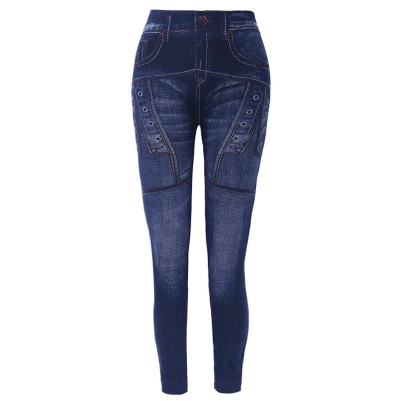 Slim Women Leggings Faux Denim Jeans Pocket Print Seamless Skinny Pencil Pants 449F
