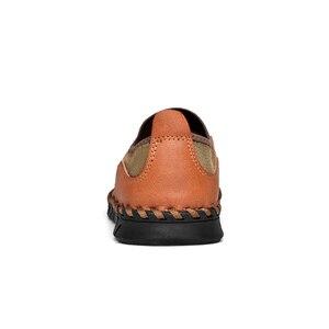 Image 5 - Homens de couro genuíno sapatos casuais respirável deslizamento em mocassins masculinos confortável condução sapatos de couro plus size 38 48