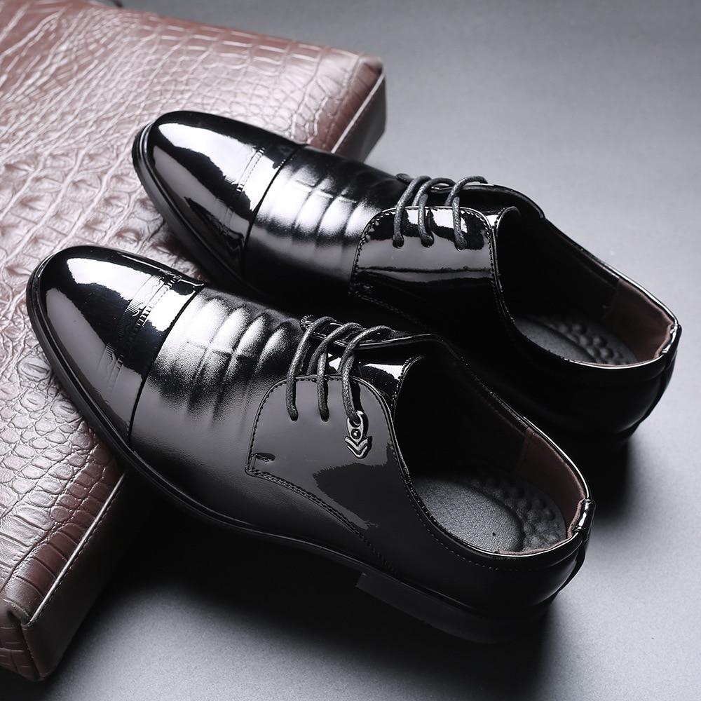 New High Quality Men's Autumn Black Dress Shoes Men's Business Formal Single Leather Lace-up For Men Plus Size 39-48