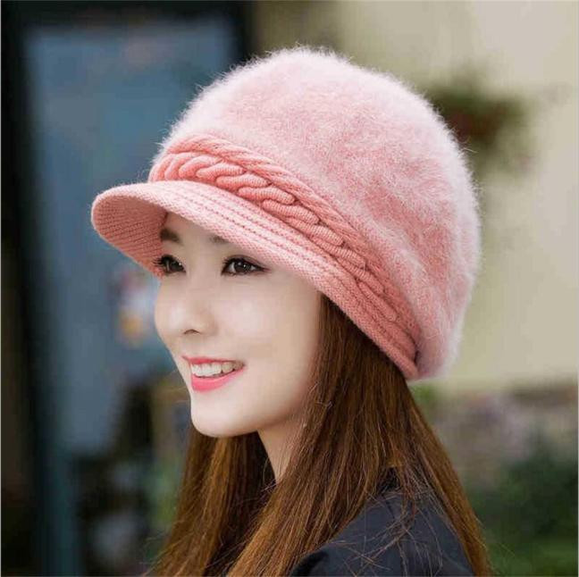 Fashion Women Hat Winter Beanies Knitted Hats Rabbit Fur Cap Knitted And Velvet Cap Pink Fashion Elegant All-match Hat For Women