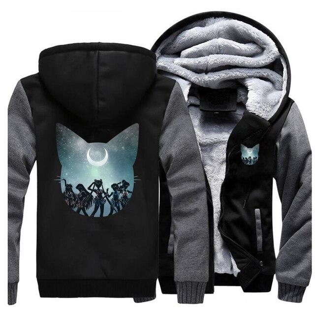 Hoodie solid color big Size Cardigan sweatshirts Men Sailor Moon Fashion Print Hooded 2020 Autumn Winter Long Sleeve tracksuits