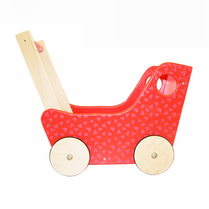 Wooden Baby Walker Toy, Red Carriage with 4 Wheels, Push & Pull Toddler Ride On Cart, Include Mattress