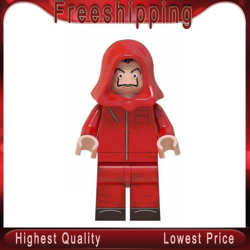 House Of Paper Movie Bricks Guy Fawkes V Vendetta Walking Dead Drama Money Heist Dr Who Building Blocks Kids Toys Gifts MG0186