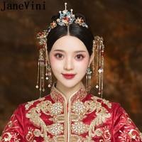 JaneVini Vintage Bridal Hair Sticks Tassel Pearl Bride Headband Chinese Style Headwear Women Wedding Hair Pins Jewellery 2019