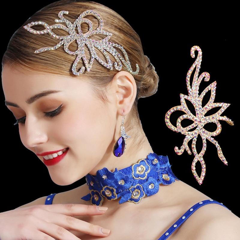 Latin Ballroom Dance Accessories Lady Middle Eastern Rhinestone Handmade Cowhide Bottom Headdress Competition Dancewear DNV12392