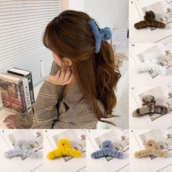 Solid Color Leopard Plush Hair Claws Clamps Autumn Winter Faux Rabbit Fur Cross Hairpins Clips Women Hairgrips Hair Accessories