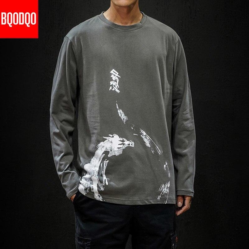5XL Print Anime T Shirt Men Black Dragon Funny Tshirt Streetwear Fitness Tees shirts Male AUTUMN Long Sleeve Hip Hop Casual Top