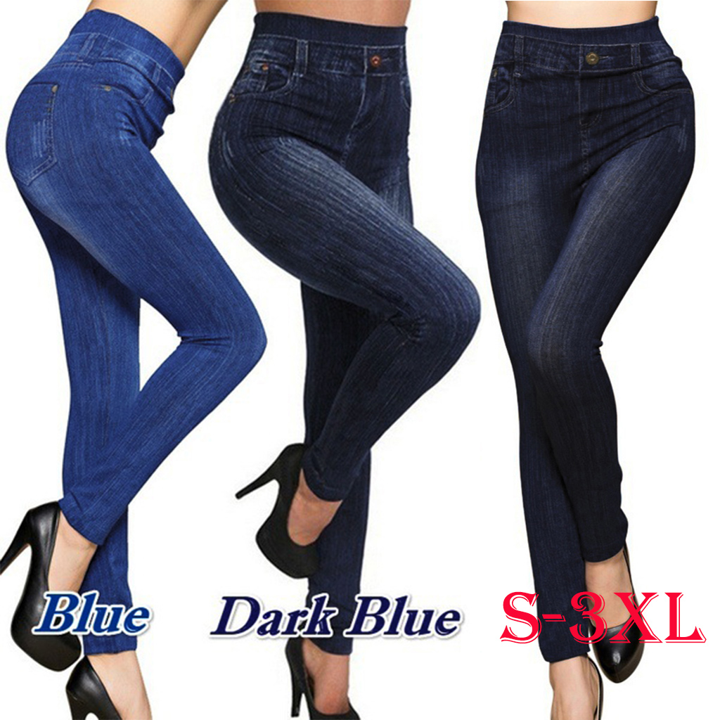 S-3XL Women New Classic High Waist Slim Leggings Imitation Jeans Seamless Pencil Pants 649C