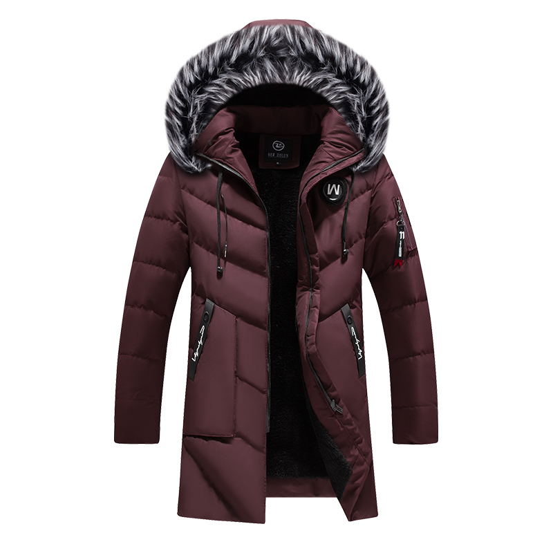 Winter Jacket Men Fashion Casual Slim Thick Warm Coats Mens Parkas With Hooded Long Overcoats Man/Women Fur Collar Parka Outwear
