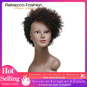 Rebecca Cheap Short Bob Kinky Curly Wigs For Black Women Brazilian Human Hair Full Wig Short Curly Brown Color Wholesale Price(China)