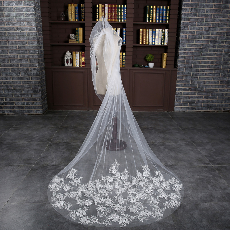 2019 New Big Veil Bride Wedding Dress Headdress Tail Long Super Flat Lace Flower Soft Yarn