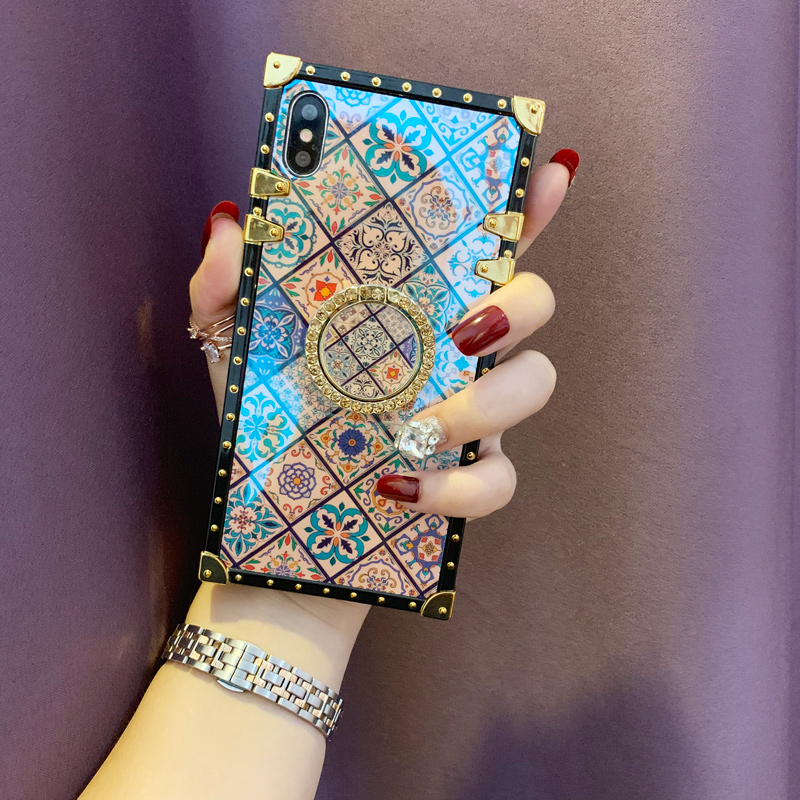 Case For iPhone Xr Xs Max Cover Blue Ray Square Rivet Chinese Style Girly Shiny Ring Stand Case For iPhone X Xs 7 8 Plus 6S Case (2)