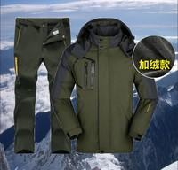 Winter Mountaineering wear Hiking Jacket Men softshell Pants Fleece liner Windproof coat Outdoor Waterproof Ski suit Windbreaker