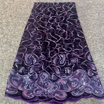 Velvet Lace Fabric for Dresses Latest Nigerian Embroidered French Tulle Lace fabric High Quality African 3d Sequined Lace Fabric