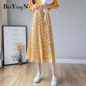 Beiyingni Pleated Chiffon Midi Skirt Women Boho Beach Casual Print Long Chic Sweet Elegant Skirts Ladies Summer Vintage