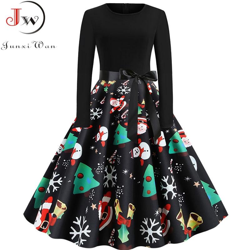 Black Print Christmas Dress Women Elegant Vintage Autumn Winter Long Sleeve Plus Size Casual Party Dresses Vestidos Robe Femme 1
