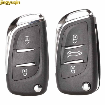 Jingyuqin Vouwen Flip Afstandsbediening Autosleutel Shell CE0536 Voor Peugeot 407 307 408 308 Citroen C2 C3 C4 C5 C6 xsara Grand Picasso Groef