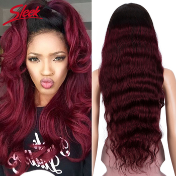 Sleek Brazilian Remy Lace Front Human Hair Wigs Long 30 Inch Body Wave Ombre T1B/99J 150% Density Wig Pre Plucked With Baby Hair