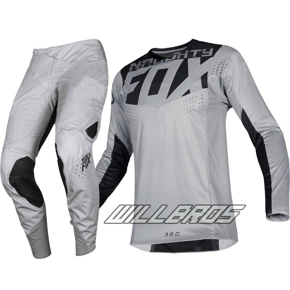 2019 The New One!Motocross Racing Jersey Pants Naughty Fox Motorcycle Men's Grey Gear Set