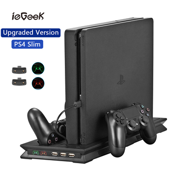 Upgraded Version PS4 Slim Vertical Stand with Light Cooling Fan Cooler & Dual Controller Charging Station for SONY Playstation 4
