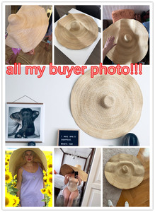Image 3 - real bout 1.1 m , the biggest hat handmade  straw!!! real straw  45cm brim wedding sun cap women  leisure hat take photo