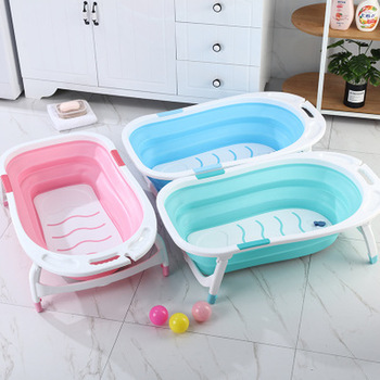 Baby Folding Bath Tub Bathroom Accessories Portable Foldable Kids Washing Bathtub Non-Slip Spa Bath Tub Bathroom Organizers