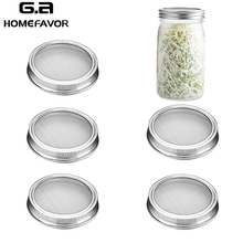 Stainless Steel Sprouting Jar Lids Mesh Strainer Seed Germination Lid Kit For Wide Mouth Mason Jar Sprout Growing Home Supplies 6 pack kit turn any wide mouth mason jar into a fermenting crock