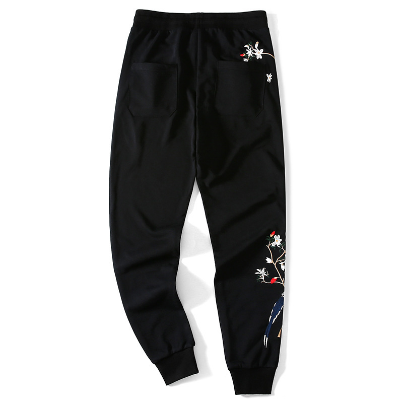 New Arrival Hip Hop Embroidery Harem Men Trousers Male Black Joggers Drawstring Pants Fitness Loose Casual Solid Sweatpants
