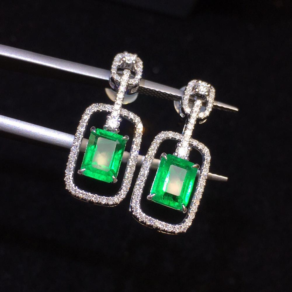 Genuine Green Jade /& Green Cultured Pearl Sterling Silver Dangle Hook Earrings