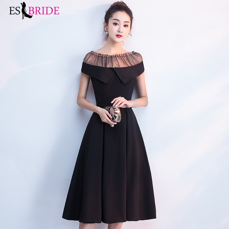 Cocktail Dresses 2019 Black Classic Short Sleeves O Neck Party Gowns ES3005 Cheap Above Knee OL Bodycon Dress