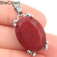Deluxe Big Oval Gemstone Real Red Ruby SheCrown Silver Pendant 30x15mm