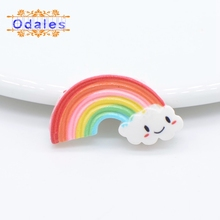 30Pcs/lots Flat Back Resin Crafts Cabochons Accessories Kawaii Smile Rainbow Clouds for Bow Tie Center Decoration