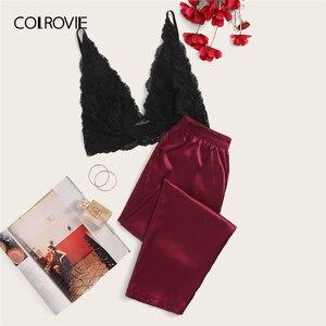 Image 1 - COLROVIE פרחוני תחרת Bralette עם סאטן מכנסיים 2019 קיץ ארוך סטי מוצק סקסי פיג מה נשים הלבשת גבירותיי פיג מות סט