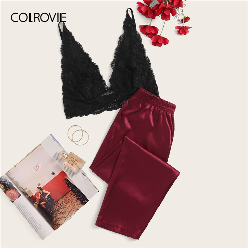 COLROVIE Floral Lace Bralette With Satin Pants 2019 Summer Long Sets Solid Sexy Pajamas Women Sleepwear Ladies Pajama Set