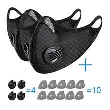Sport maska z filtrami zawory wydechowe zacisk na nos maski na pół twarzy zmywalny wielokrotnego użytku maska oddechowa maski na twarz tanie tanio CN (pochodzenie) COTTON