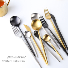 Stainless Steel Flatware Dinner Spoon Talher Rose Gold Black Cutlery Kitchen Knives Set Home 50F021