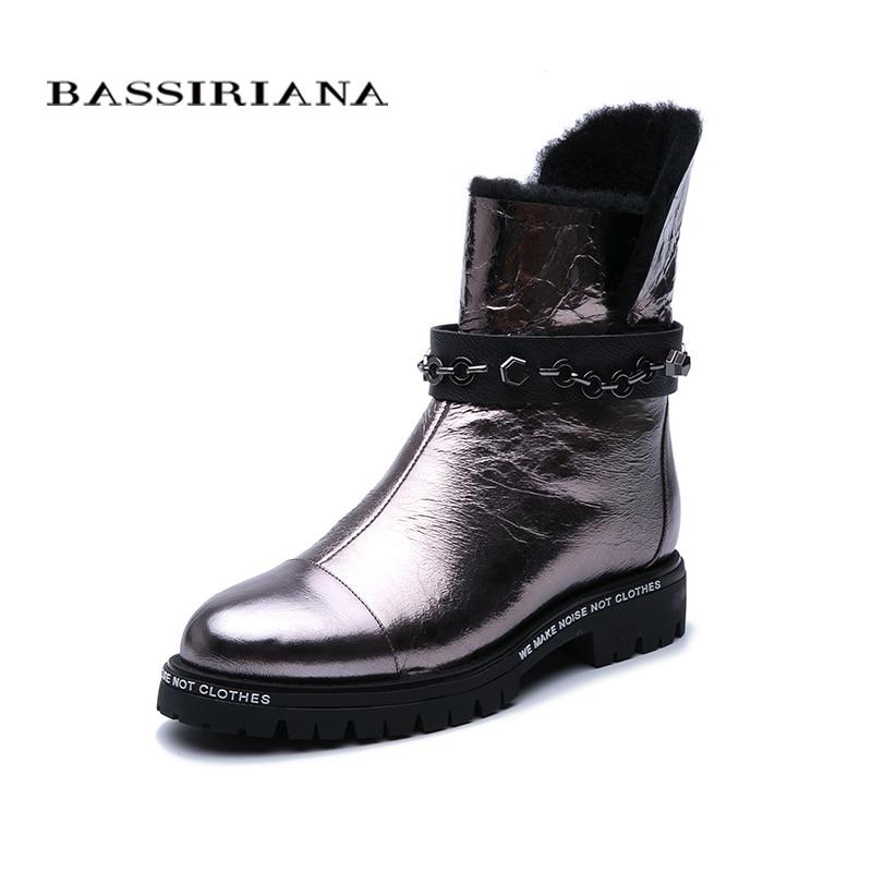 BASSIRIANA 冬の新.. 雪のブーツ。天然毛皮保温。 Нескользкий 底。金属革。ファッション New.  グループ上の 靴 からの ミッドカーフブーツ の中 1