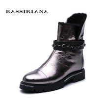 Bassiriana new. 雪のブーツ。天然毛皮保温。ノンスリップボトム。金属革。ファッションブランドnew.