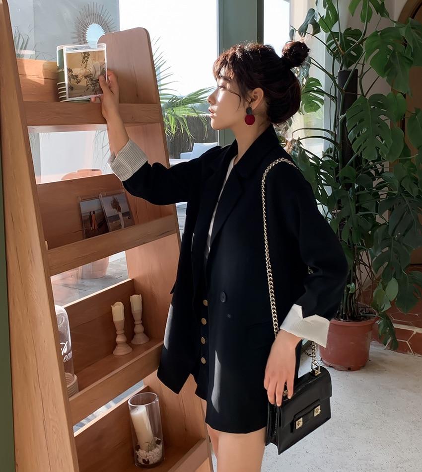 Large Size Korean Ladies Blazer Solid Black Loose Casual Suit Jacket Simple Blazer Paillette Stylish Women Blazer New MM60NXZ