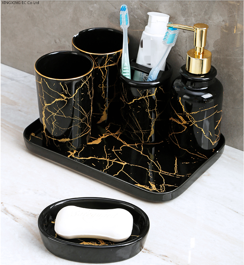 Black Marble Bathroom Decoration Accessories Toothpaste Dispenser, Mouthwash Cup, Toothbrush Holder, Lotion Bottle, Ceramic Tray