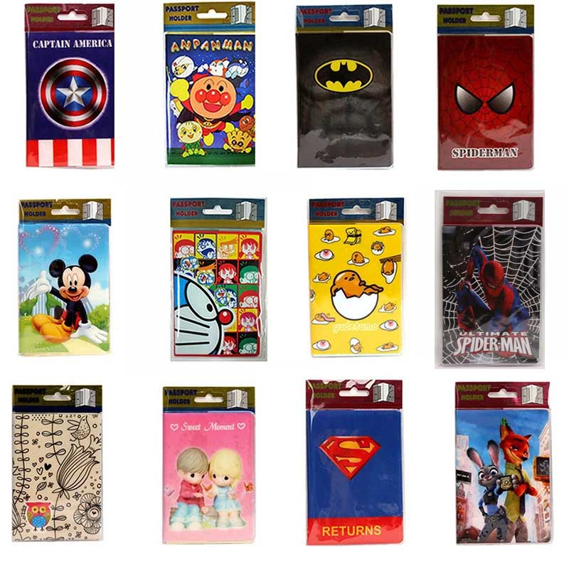 New Fashion Cartoon Spiderman & Superman Passport Holder PVC Leather Travel Passport Cover Case Card ID Holders 14cm*9.6cm