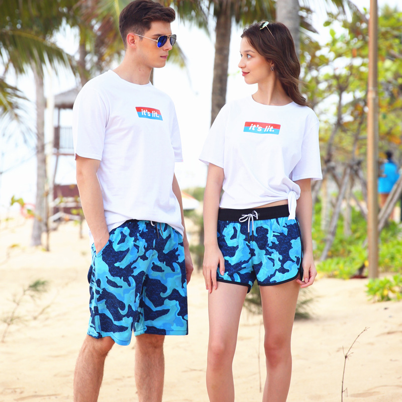 Loose And Plus-sized Quick-Dry Beach Shorts Men And Women Hot Springs Swimming Trunks Seaside Holiday Couples Shorts Large Trunk