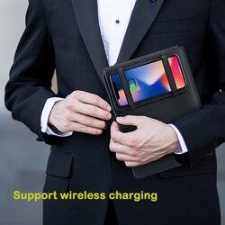 A5 Qi Wireless di Ricarica multifunzionale di Accumulatori E Caricabatterie Di Riserva Notebook 5000MAh di Ricambio Libro del Diario + USB IOS TIPO-c ufficio Affari regalo
