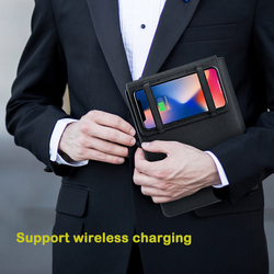 A5 Qi Wireless multifunction Charging Power Bank Notebook 5000MAh Replacement Diary Book+USB IOS Type-c Office Business gift